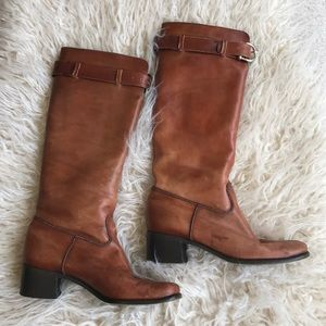 Saks Fifth Avenue knee high brown distressed boots